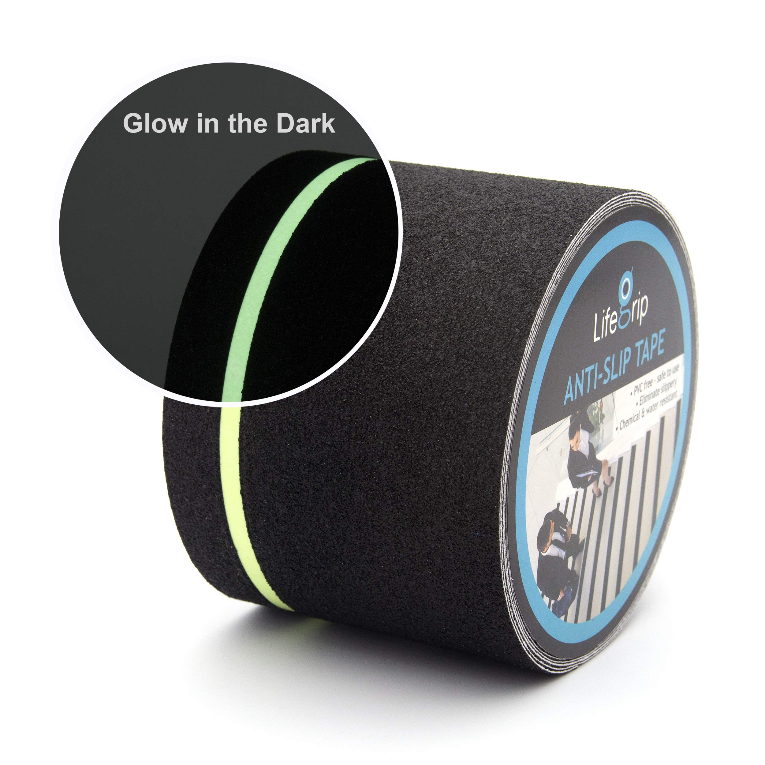 Anti Slip Traction Tape with Glow in Dark Green Stripe, 4 Inch x 30 Foot - Best Grip, Friction, Abrasive Adhesive for Stairs, Tread Step, Indoor, Outdoor, Black (4 inch X 30 feet Tape) by LifeGrip Stay on Track