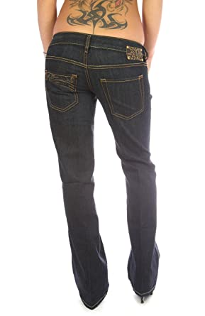 81a1dc29 DIESEL Ryoth Designer Jeans Dark Blue Bootcut Low Rise Button Fly Wash  008AB: Amazon.co.uk: Clothing