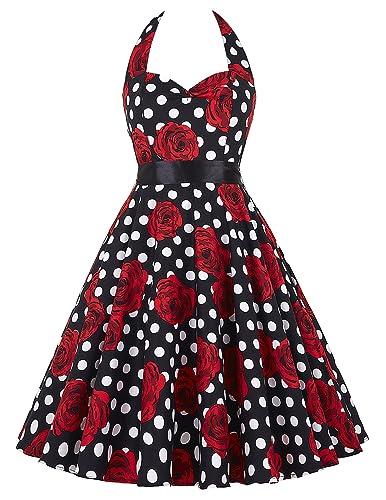 GRACE KARIN® Women's Halter Neck Vintage Floral Swing Dresses