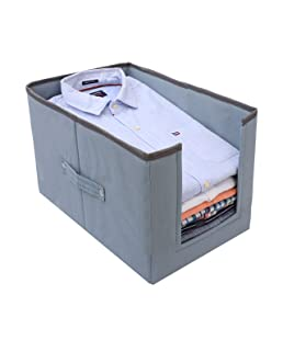 COTANZA CRAFT Large Capacity Cloth Organizer, Space Saver Closet Organizer, Clothes Storage Bag, Non-Woven Rectangle Cloth Organizer, Front Opening Wardrobe Organizer – Grey (Single)