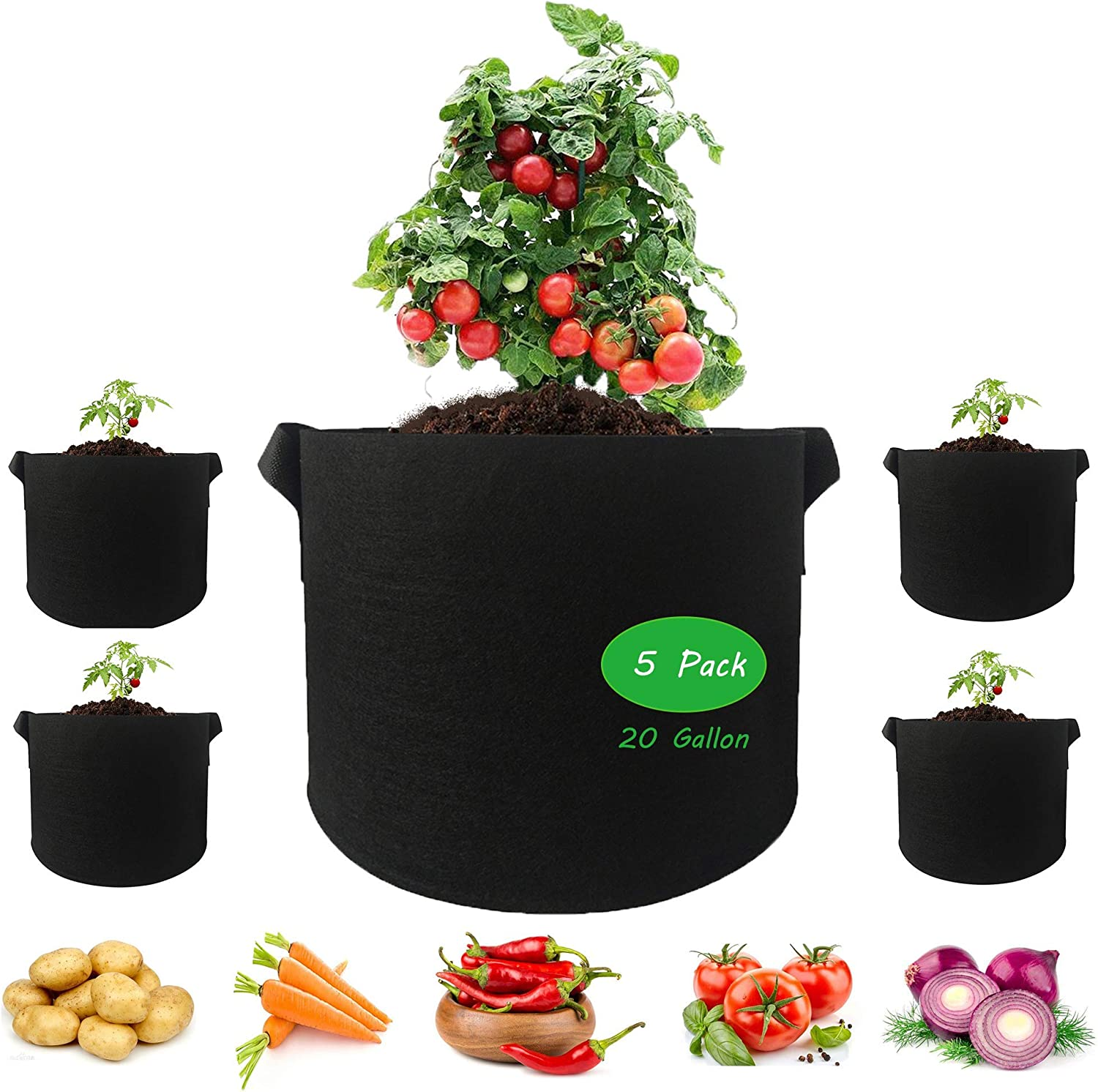SAFER US-DESIGN 5 Pack 20 Gallon Plant Grow Bags, Thickened Non-Woven Fabric Pots with Handles Indoor Outdoor Grow Containers for Vegetables Fruits Flowers - Black