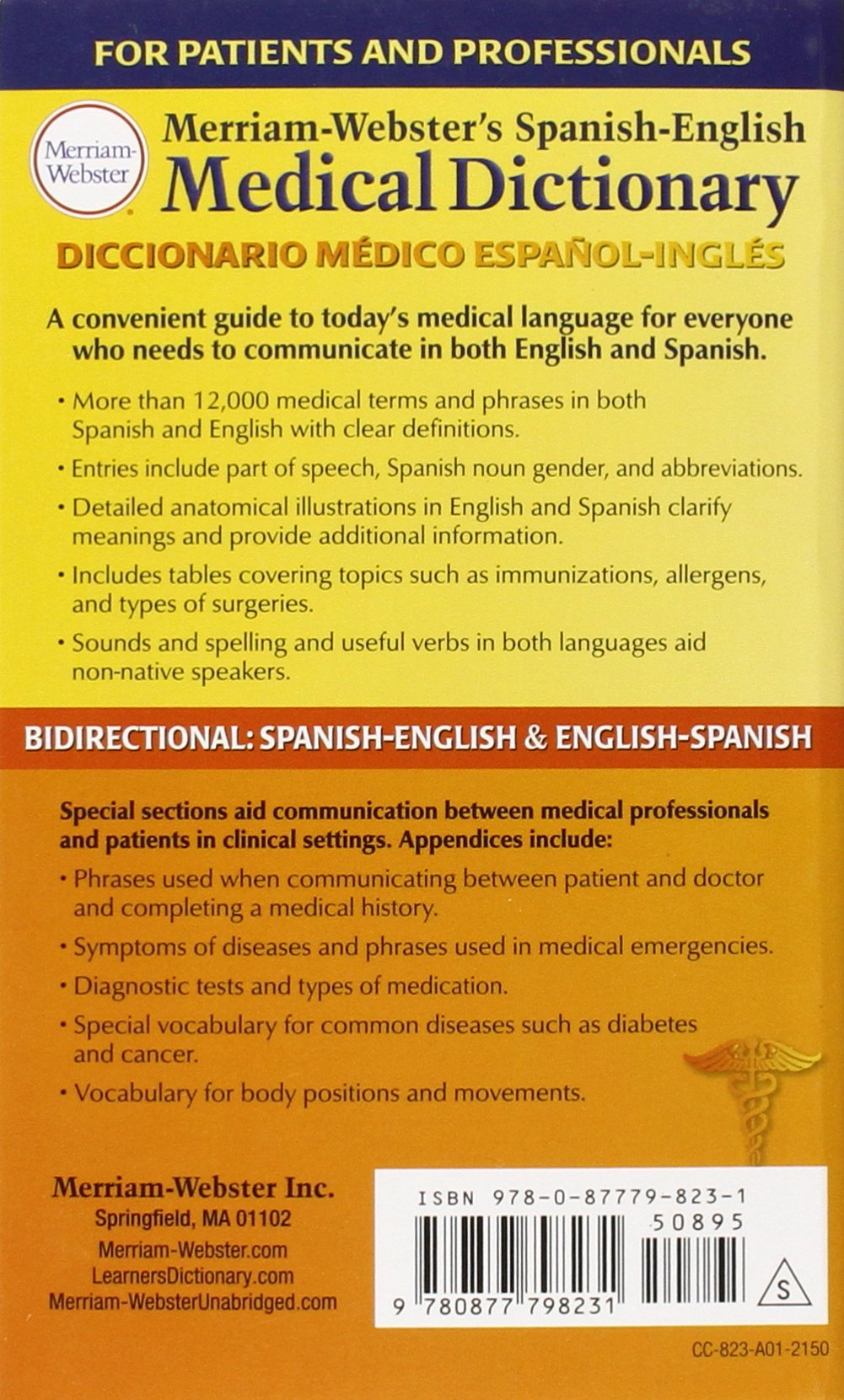 Merriam Websters Spanish English Medical Dictionary Newest Edition