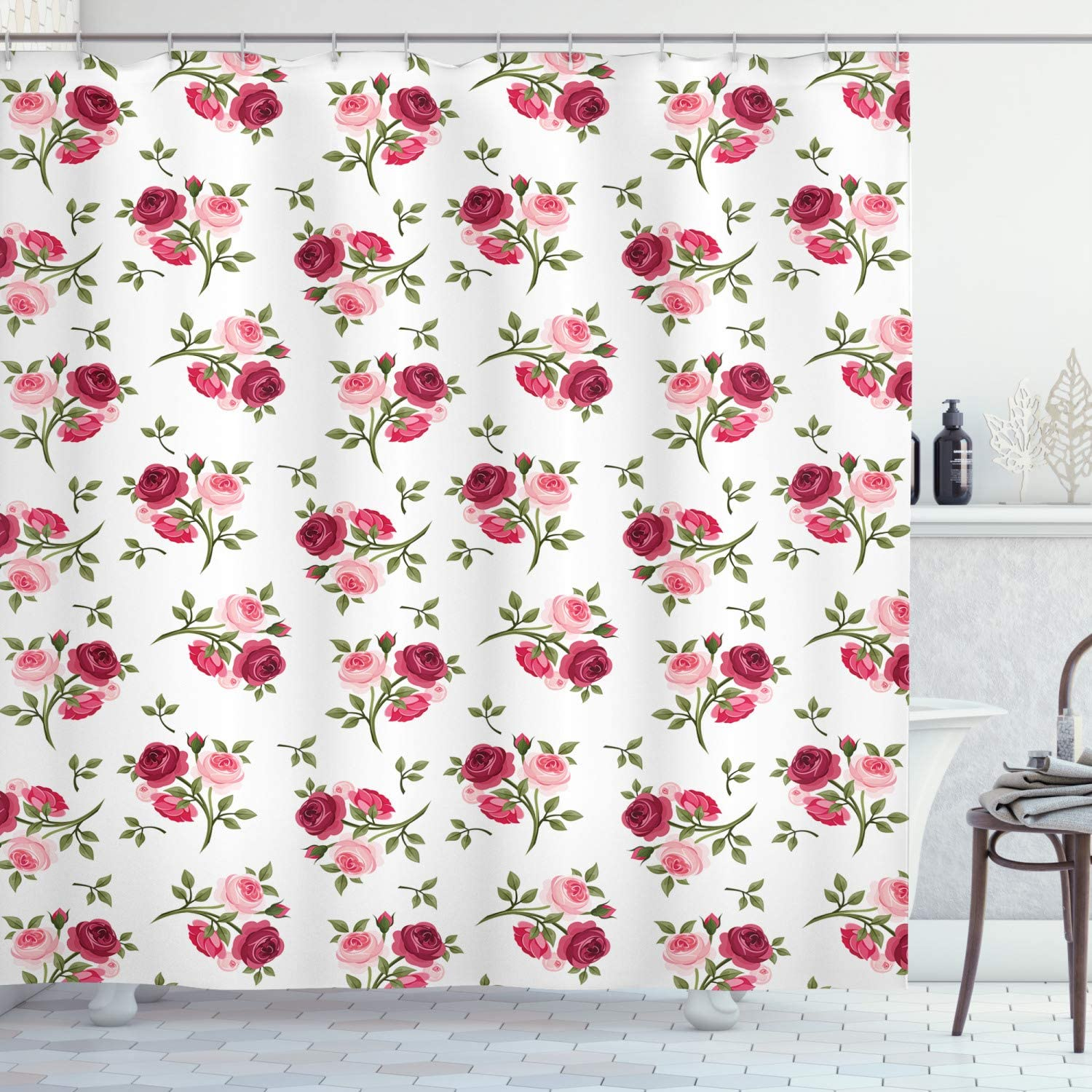 """Ambesonne Rose Shower Curtain, Pattern with Rose Stems Flowers Garden Classic English Style Design Print, Cloth Fabric Bathroom Decor Set with Hooks, 75"""" Long, Pink Fern"""
