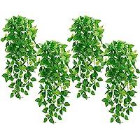 Whonline - 4 plantas colgantes artificiales de hiedra falsa para pared, hogar, porche, jardín, boda, decoración exterior…