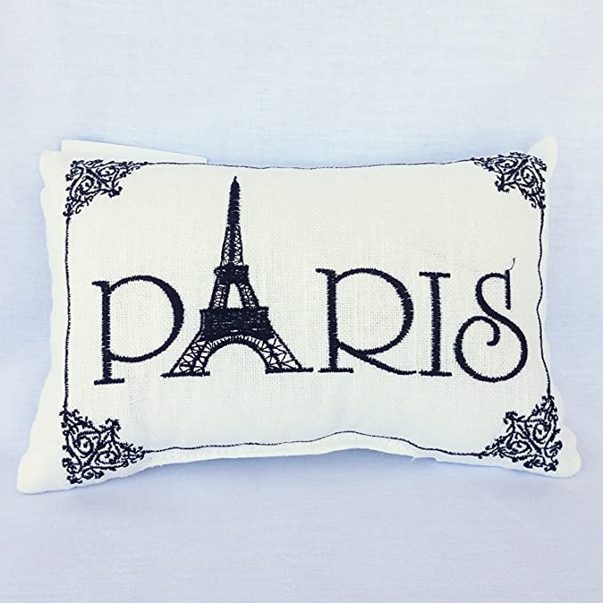 """PARIS EMBROIDERED ACCENT PILLOW BLACK WHITE FRENCH EIFFEL TOWER 8.5/"""" x 5.5/"""""""