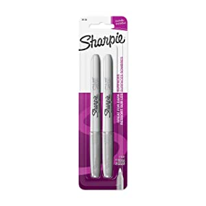 Sharpie 39108PP Fine Point Metallic Silver Permanent Marker, 1 Blister Pack with 2 Markers each for A Total of 2 Markers