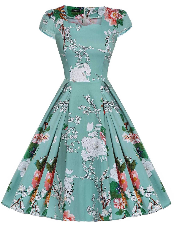 CRAVOG Damen Vintage Kleider Petticoat Rockabilly Kleid Partykleid Cocktailkleid