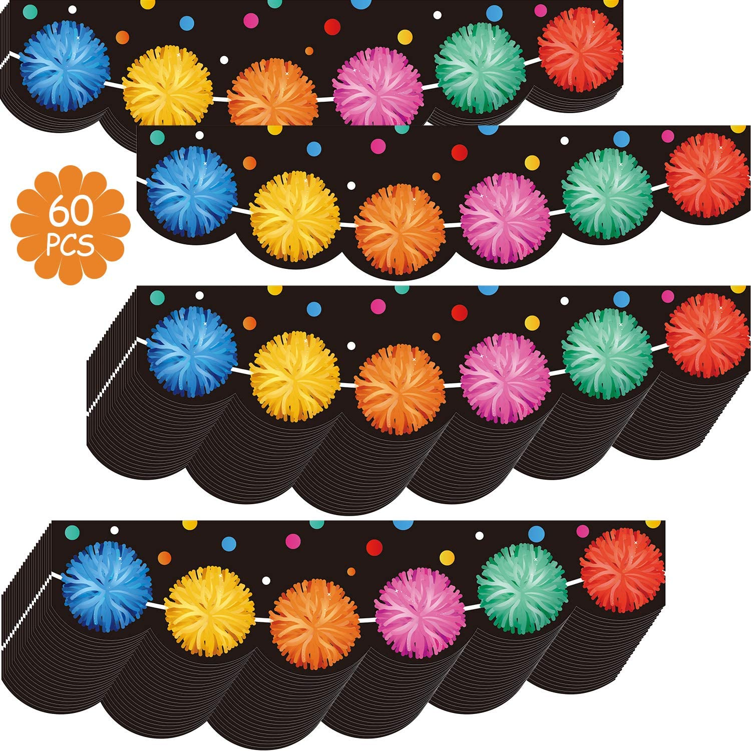60 Pieces Pom-Poms Borders Colored Pom-Poms Trimmer Die-Cut Border Trim Labels Bulletin Board Classroom Decor Stickers Table Desk Self-Adhesive Scalloped Border for Birthday Baby Shower School Party