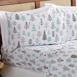 Great Bay Home 4 Piece Extra Soft Lodge Printed 100% Turkish Cotton Flannel Sheet Set. Heavyweight, Warm, Cozy, Luxury Winter Deep Pocket Bed Sheets. Lakeview Collection (Full, Winter Forest)