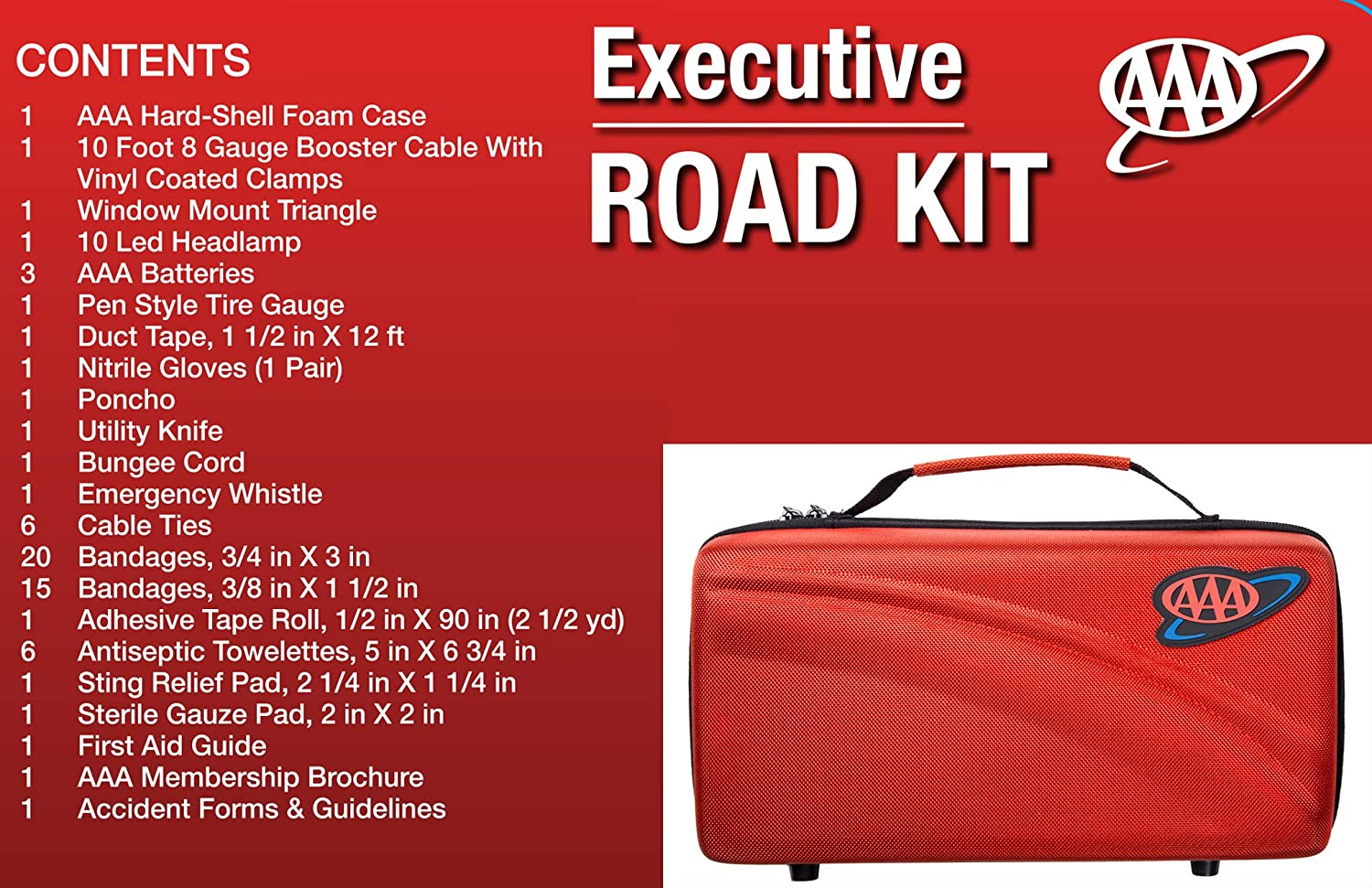 Headlamp Warning Triangle and First Aid Kit Lifeline 4366AAA 67Pc AAA Executive Road 67 Piece Emergency Car Jumper Cables