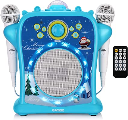 Karaoke Machine Portable Player Singing Song Connect to Phone Music Toy Blue