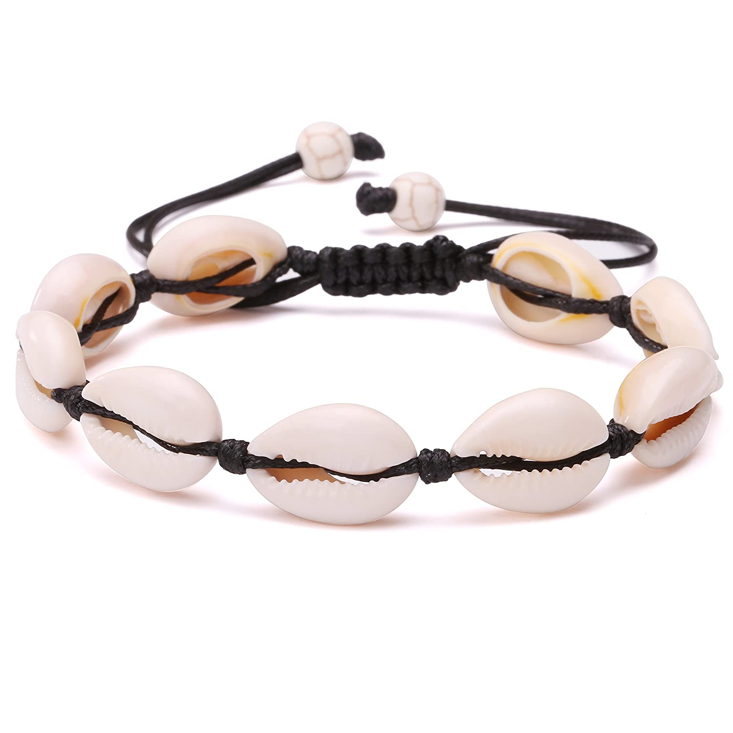 548441f306ab5 POTESSA Natural Cowrie Beads Shell Anklet Bracelet Handmade Beach Foot  Jewelry Hawaiian Jamaican Style Adjustable for Women Unisex