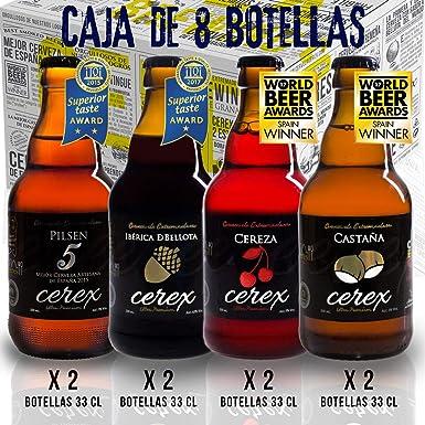 CEREX- Pack Degustación de 8 Cervezas Artesanas - Cerveza de ...