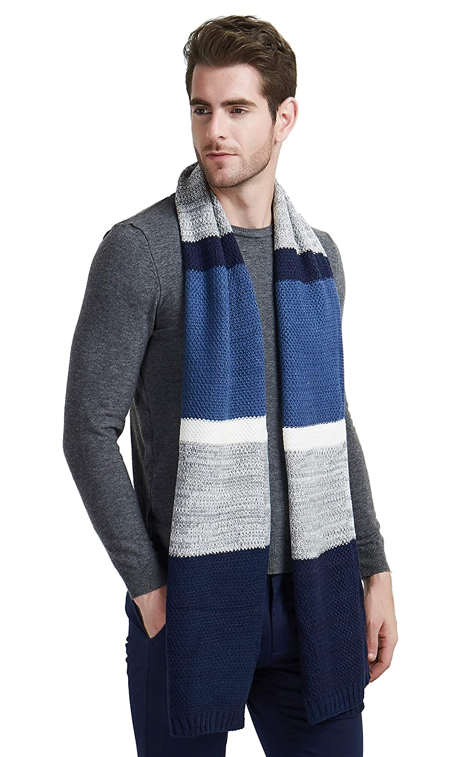 EINSKEY Mens Winter Wool Scarf, Unisex Fashion Cable Knit Cashmere Feel Scarf, Classic Color Block Striped Long Scarf Cashmere Scarf