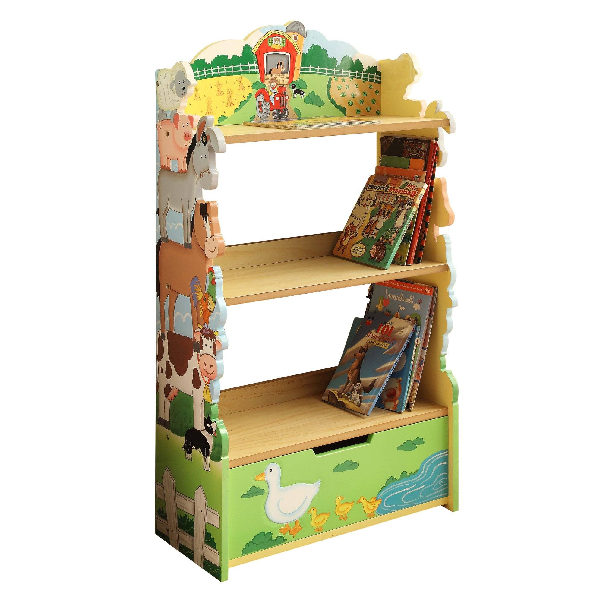 Fantasy Fields - Happy Farm Animals Thematic Kids Wooden Bookcase with Storage | Imagination Inspiring Hand Crafted & Hand Painted Details | Non-Toxic, Lead Free Water-based Paint by Teamson Design Corp