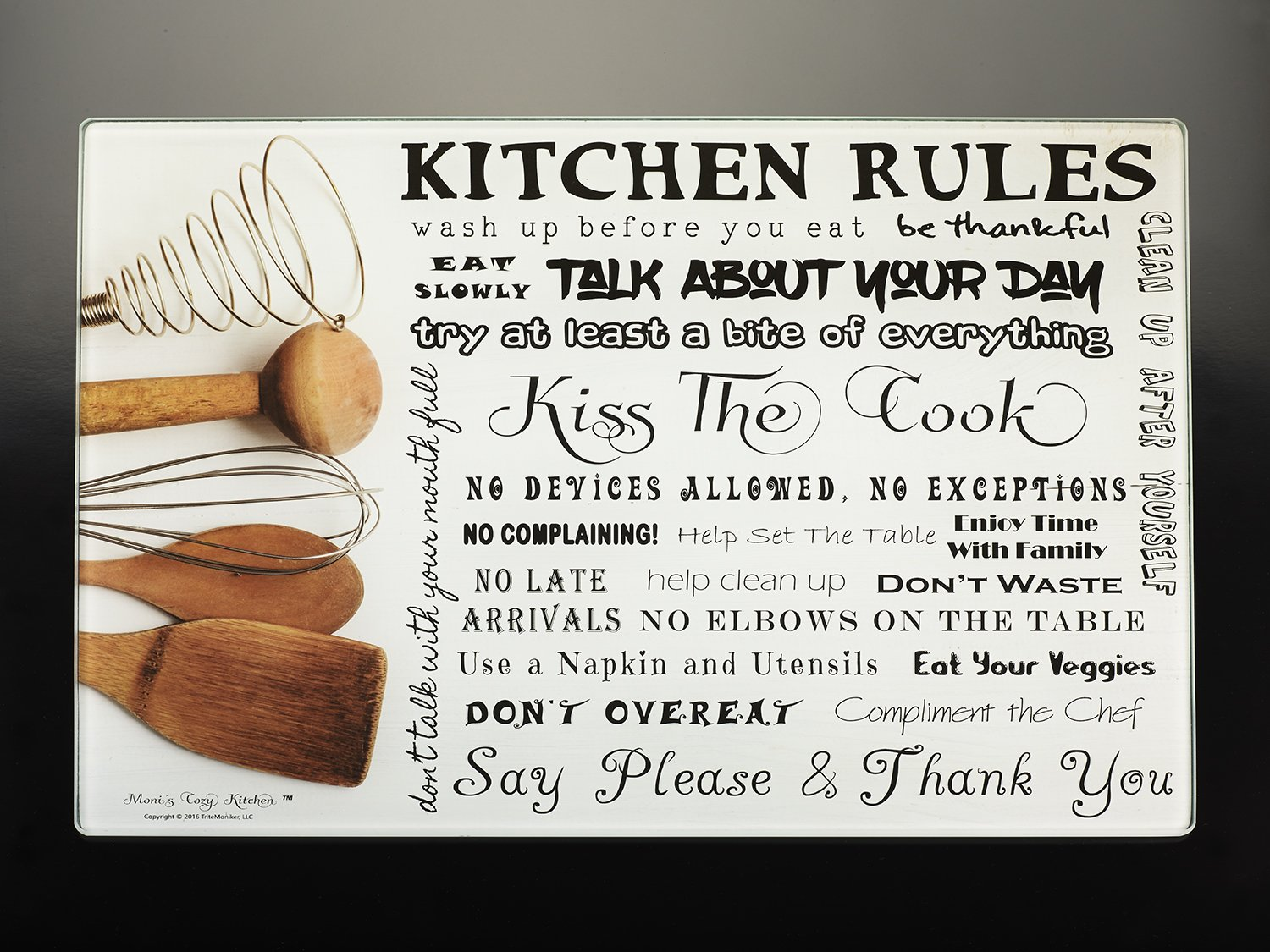 Kiss The Cook Kitchen Decor Amazoncom Monis Kitchen Rules Tempered Glass Utility Board