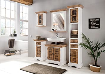 Badmöbel set landhaus  Woodkings® Bad Set Manila Echtholz Pinie natur rustikal und MDF ...