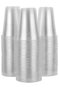 14 oz Plastic Cups Clear, 100 Party Cups for Adults and Kids, Disposable Drinking Glasses, Thin Plastic with Sturdy Rim and Bottom for Water, Beer or Cocktails, BPA Free, Non-Toxic, Food-Safe