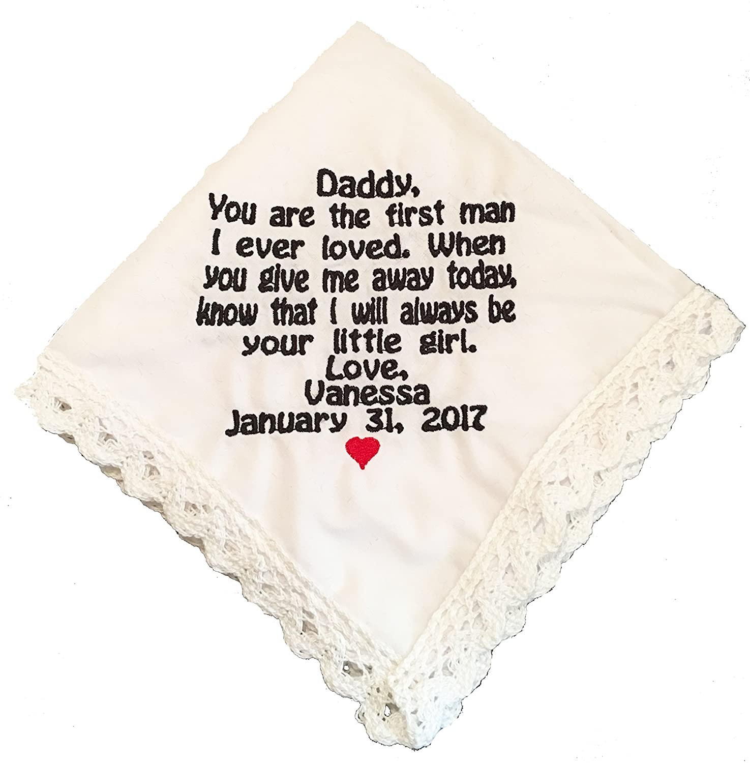 Father Of The Bride Lace Edged Handkerchief- Wedding Gift- by Wedding Tokens