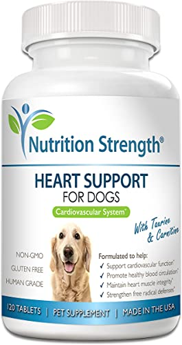 Nutrition Strength Heart Support for Dogs with Taurine Carnitine, Promote Blood Circulation, Support Cardiovascular Function, Heart Muscle Integrity Free Radical Defenses, 120 Chewable Tablets
