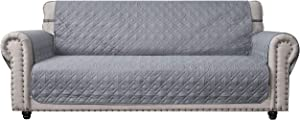 """Ameritex Couch Sofa Slipcover 100% Waterproof Nonslip Quilted Furniture Protector Slipcover for Dogs, Children, Pets Sofa Slipcover Machine Washable (Light Grey, 68"""")"""
