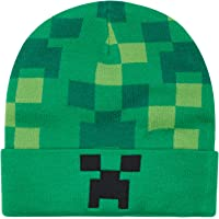 Minecraft Boys Creeper Face Beanie -Black and Green Youth Beanie, Adjustable - (Unisex)