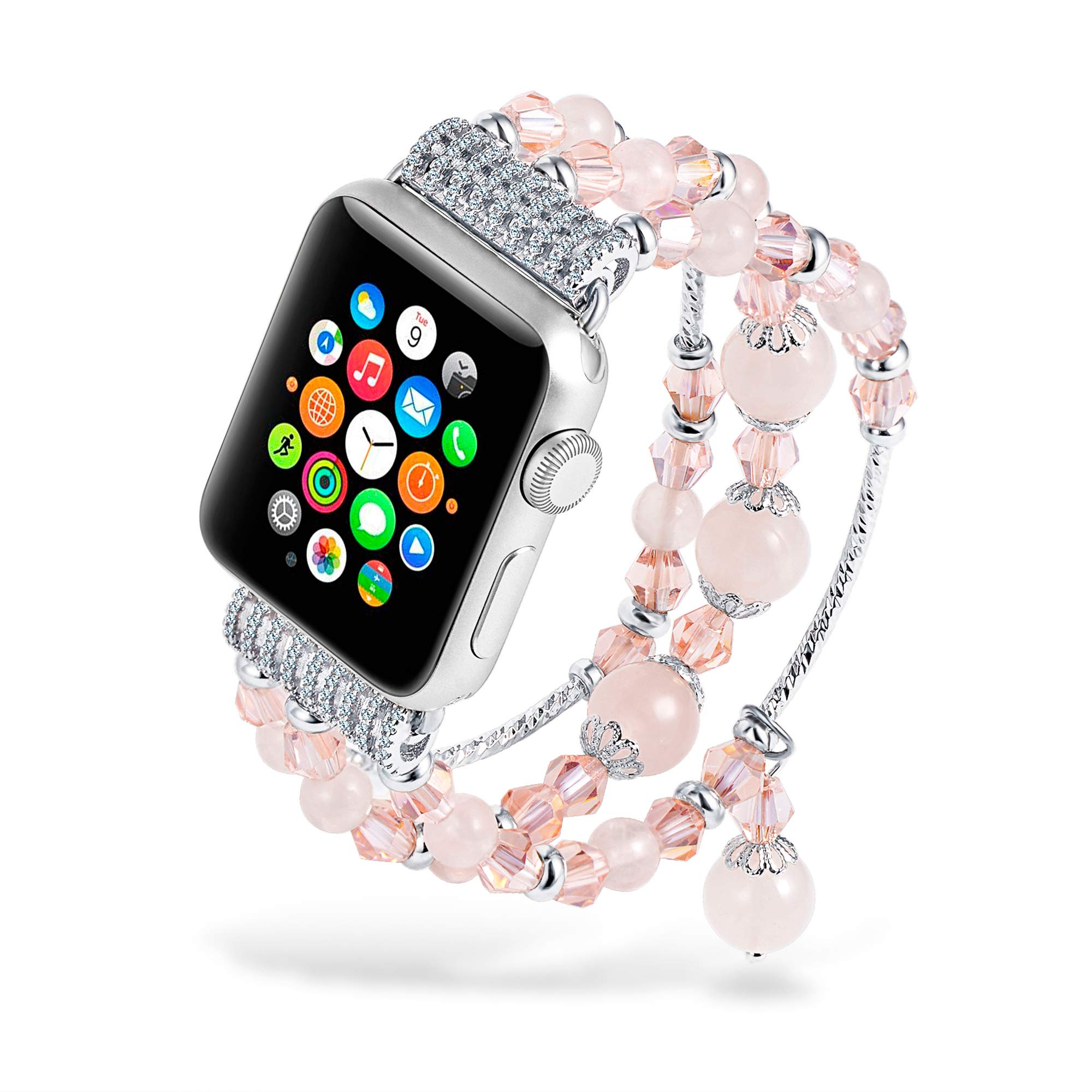 Fashion Beaded Apple Watch Bands Pink Crystal Handmade Bracelet Strap Rose Quartz iWatch Bands for Apple Watch Series 3/2/1 38mm Luxury Gemstone Charm Bangle for Women Ladies by sedmart (Image #2)