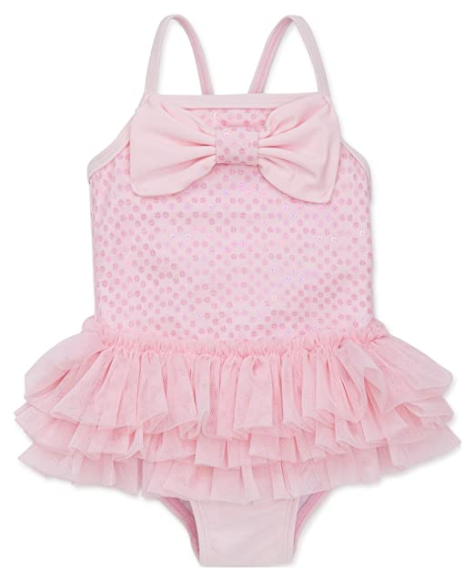 a830d7635 Amazon.com: Little Me Girls' UPF 50+ One Piece Swimsuit: Clothing