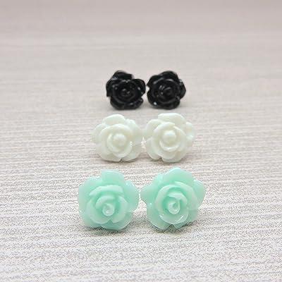 10mm Rose Earrings on Plastic Posts for Metal Sensitive Ears, Trio Aqua, White, Black