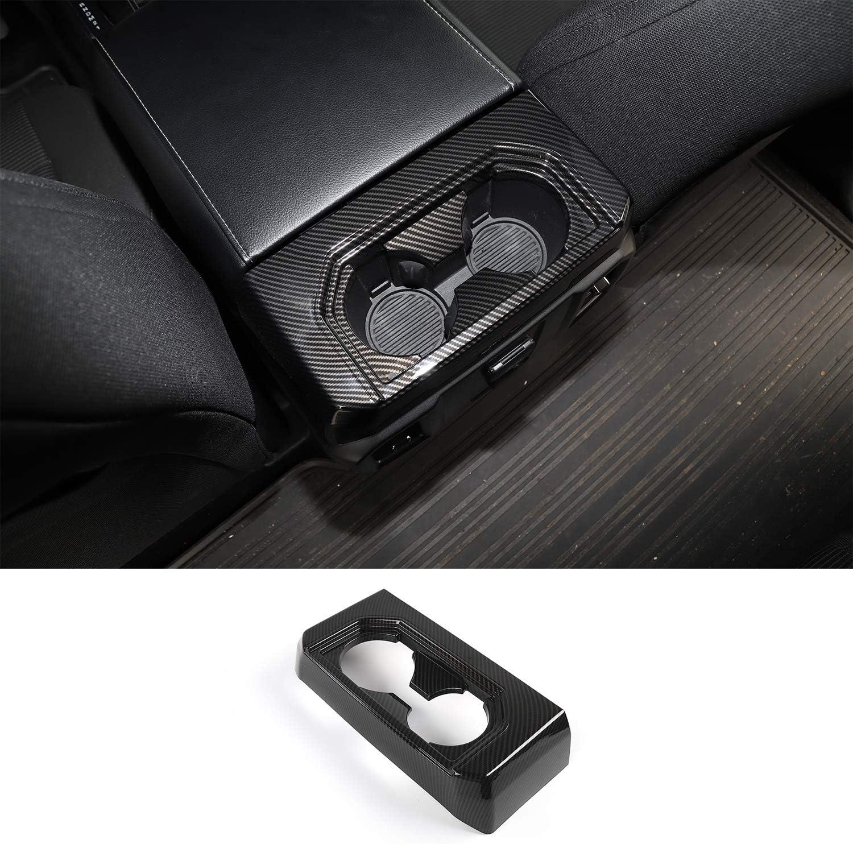 Car Interior Armrest Box Rear Cup Holder Decoration Ring Cover Trim for Ford F150 2016 2017 (Carbon Fiber)