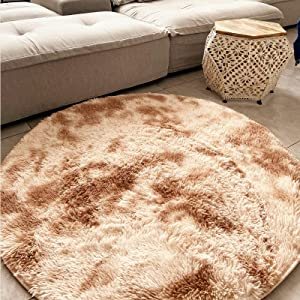Faux Fur Rug,Area Rug Ultra Soft Gradient tie-Dyed Rugs for Living Room,Small Rug for Home Decor Living Room Decor Bedroom for Girls Boys Teen Room Decor Nursery Decor,Round 4 ft,Chic Beige,1 pcs.