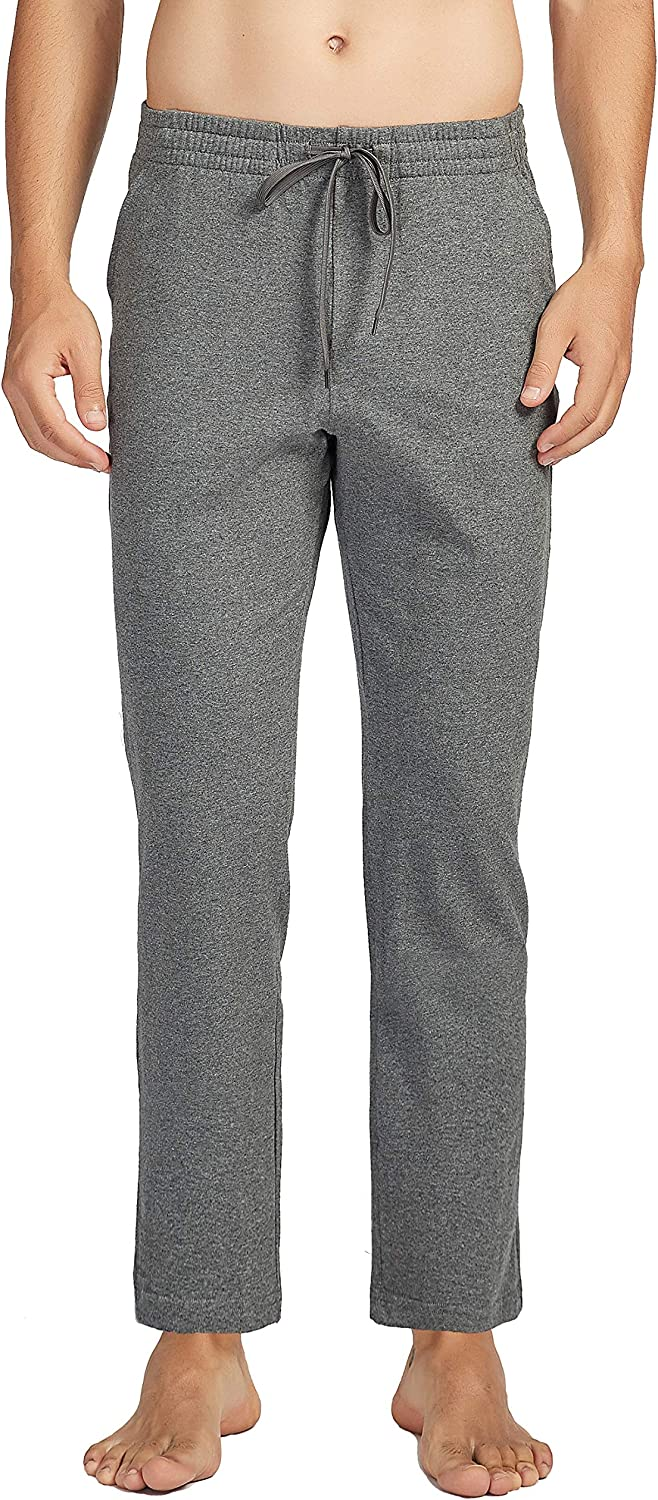 Dovio Mens Cotton Yoga Sweatpants Open Bottom Joggers Straight Leg Running Casual Loose Fit Athletic Pants with Pockets
