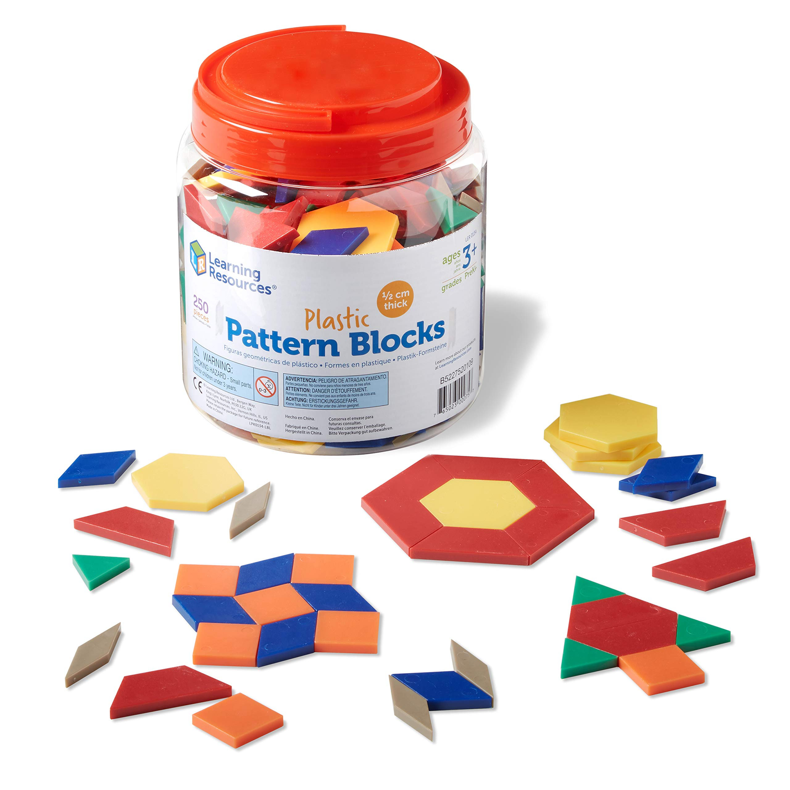 Learning Resources Plastic Pattern Blocks, Math Games for Kindergarten, Homeschool, Shape Recognition, Early Math Skills, Easter Gifts for Kids, Set of 250, Ages 4+
