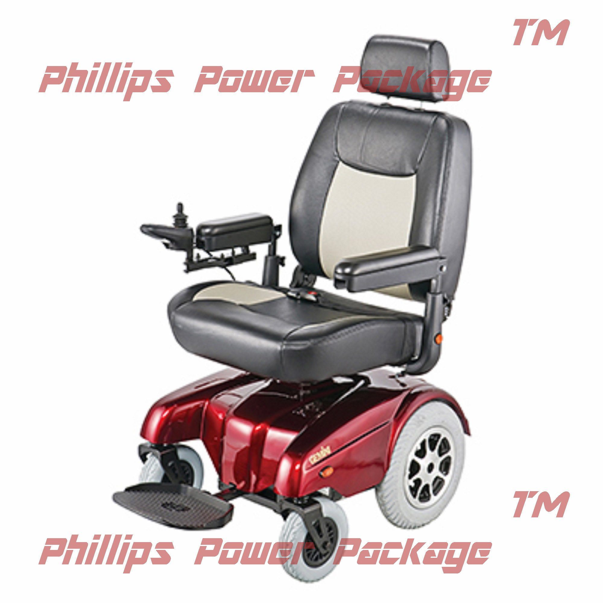 Merits Health Products - Gemini - Heavy Duty Rear Wheel Drive Power Chair, 22''W x 20''D, Red - PHILLIPS POWER PACKAGE TM - TO $500 VALUE