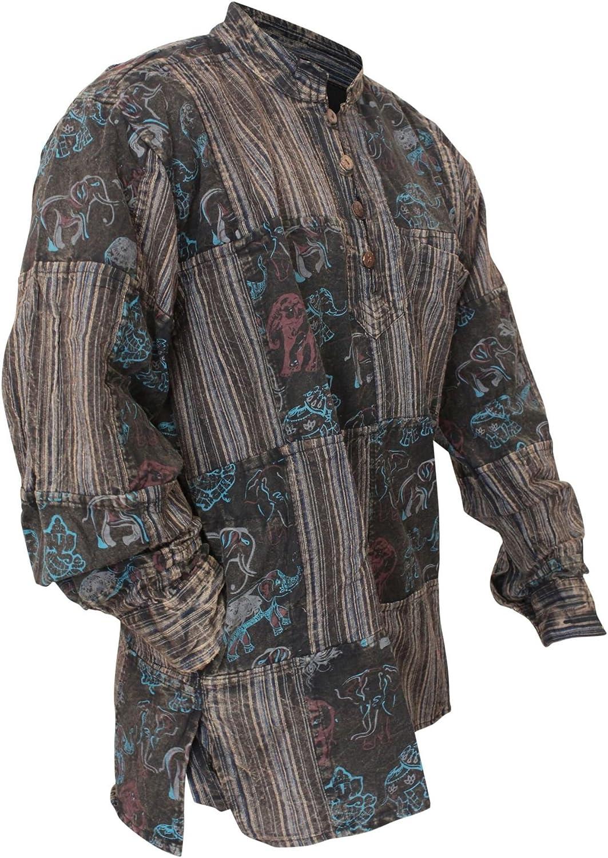 Shopoholic Fashion Mens Stonewashed Printed Patch Hippie Shirt
