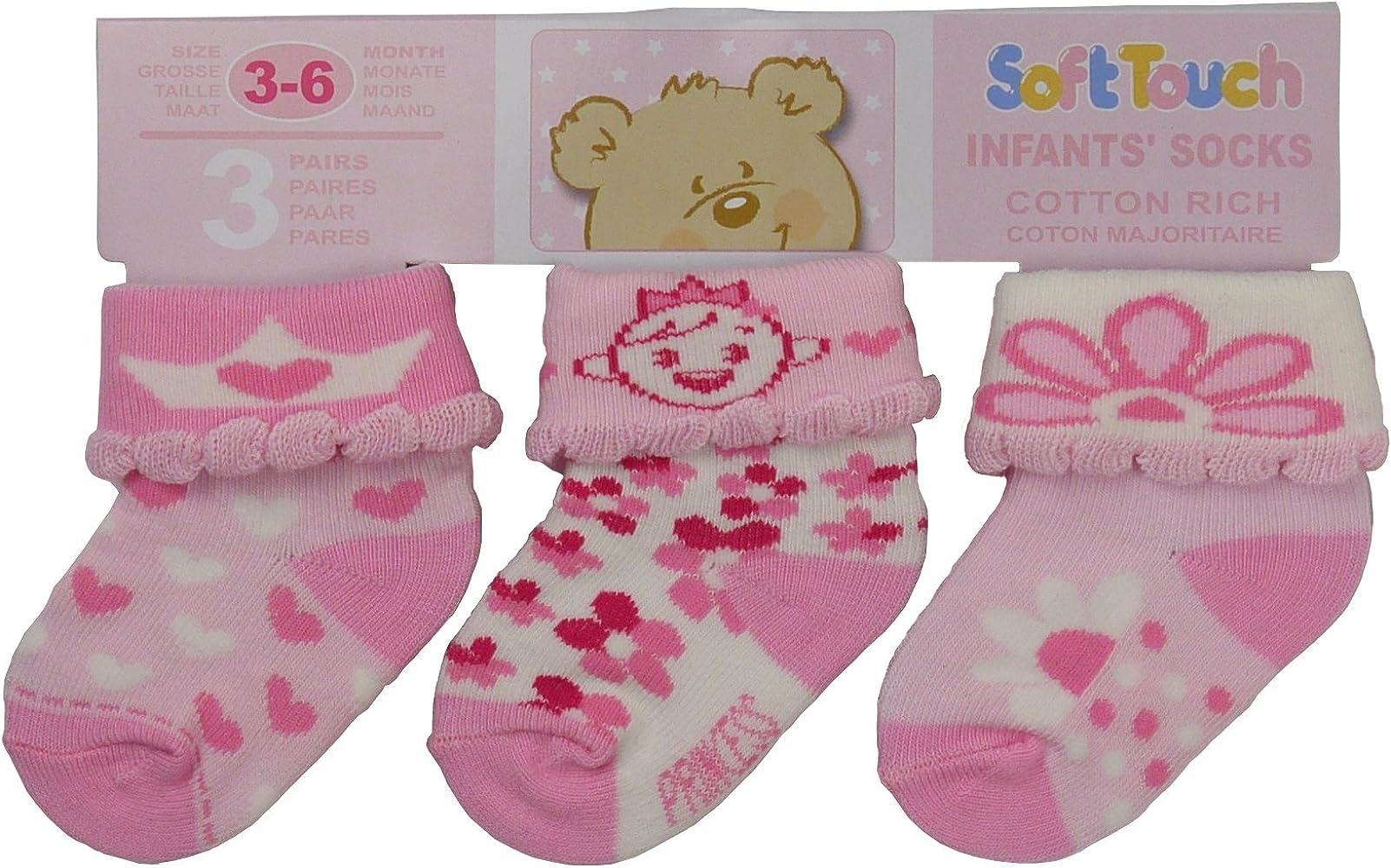 3 Pack bebé niñas calcetines de Princesa, color rosa Rosa rosa ...
