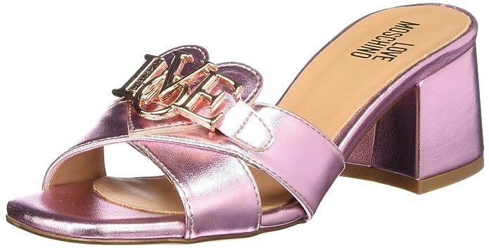 Sabotd.616/50 Lamin.PU, Zapatos de Tacón con Punta Abierta para Mujer, Rosa (Pink), 36 EU Love Moschino