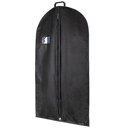 Hangerworld 1 Funda de Ropa 102cm Porta Traje Transpirable con Asa y Cremallera Negro Anti-Polvo