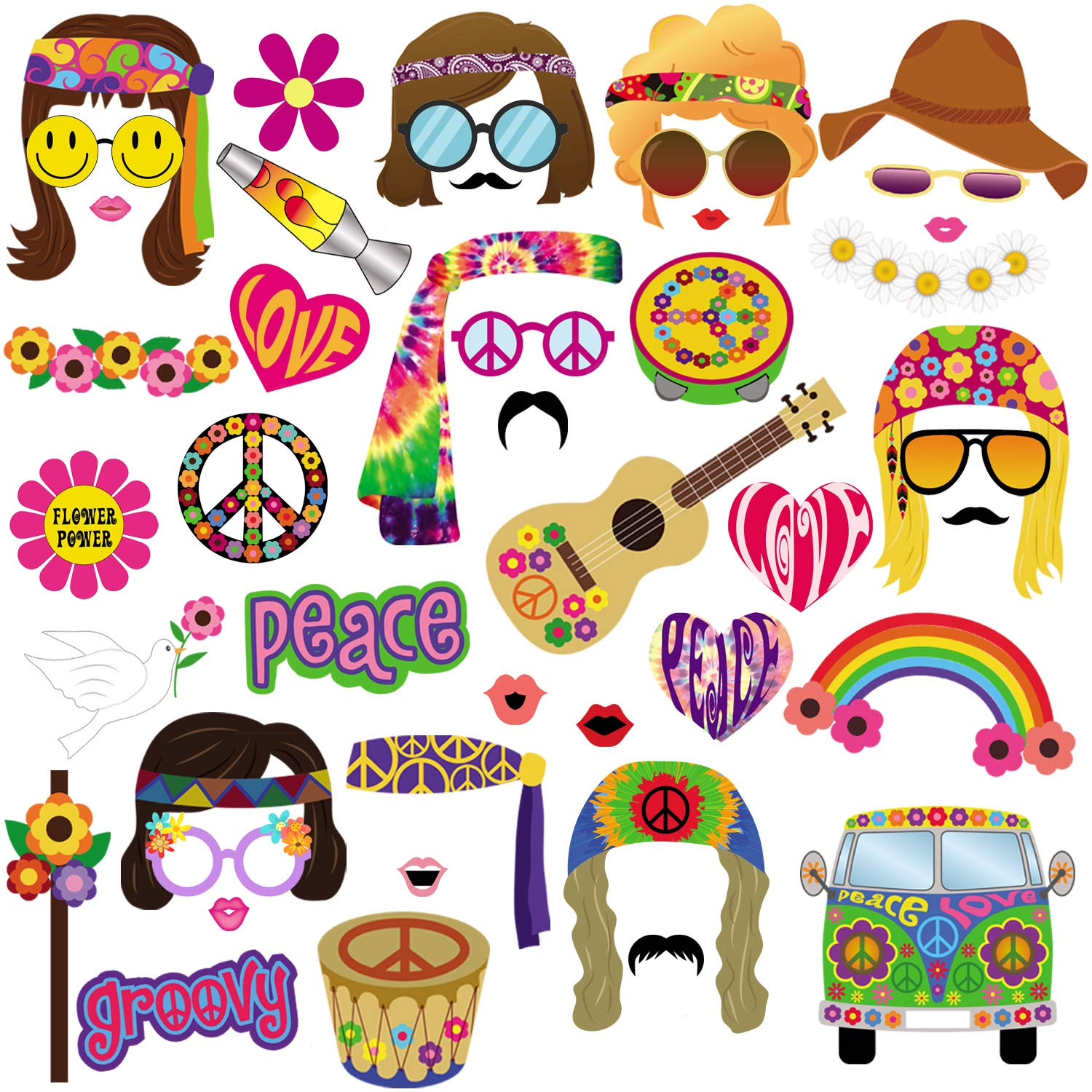 60s Photo Booth Props, 45pcs BizoeRade 60s Party Photo Booth, 1960s Theme Hippie Party Decorations, 60's Flower Power Photo Props for Groovy Party Woodstock Party