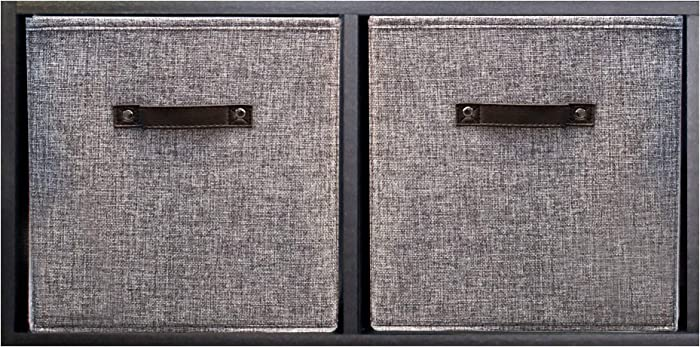 Functional Modern - Foldable Storage Bins - Durable Collapsible Storage Cubes - Closet Storage - Organizer Basket - 2 Pack - Heavy-Duty Dark Gray Natural Linen - 11 Inches High