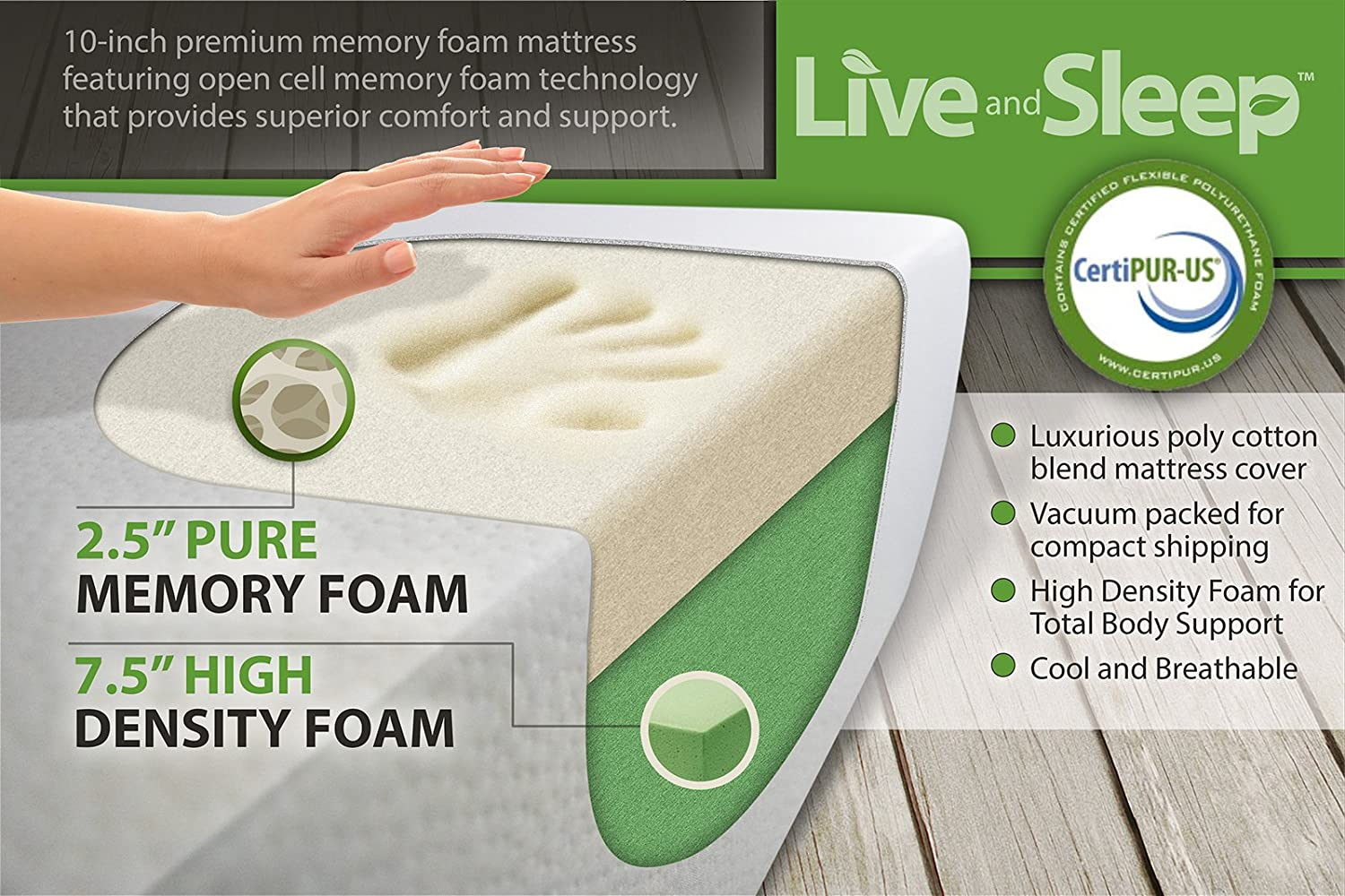 amazoncom live and sleep resort sleep classic queen size 10 inch cooling medium firm memory foam mattress with premium form pillow certipur certified