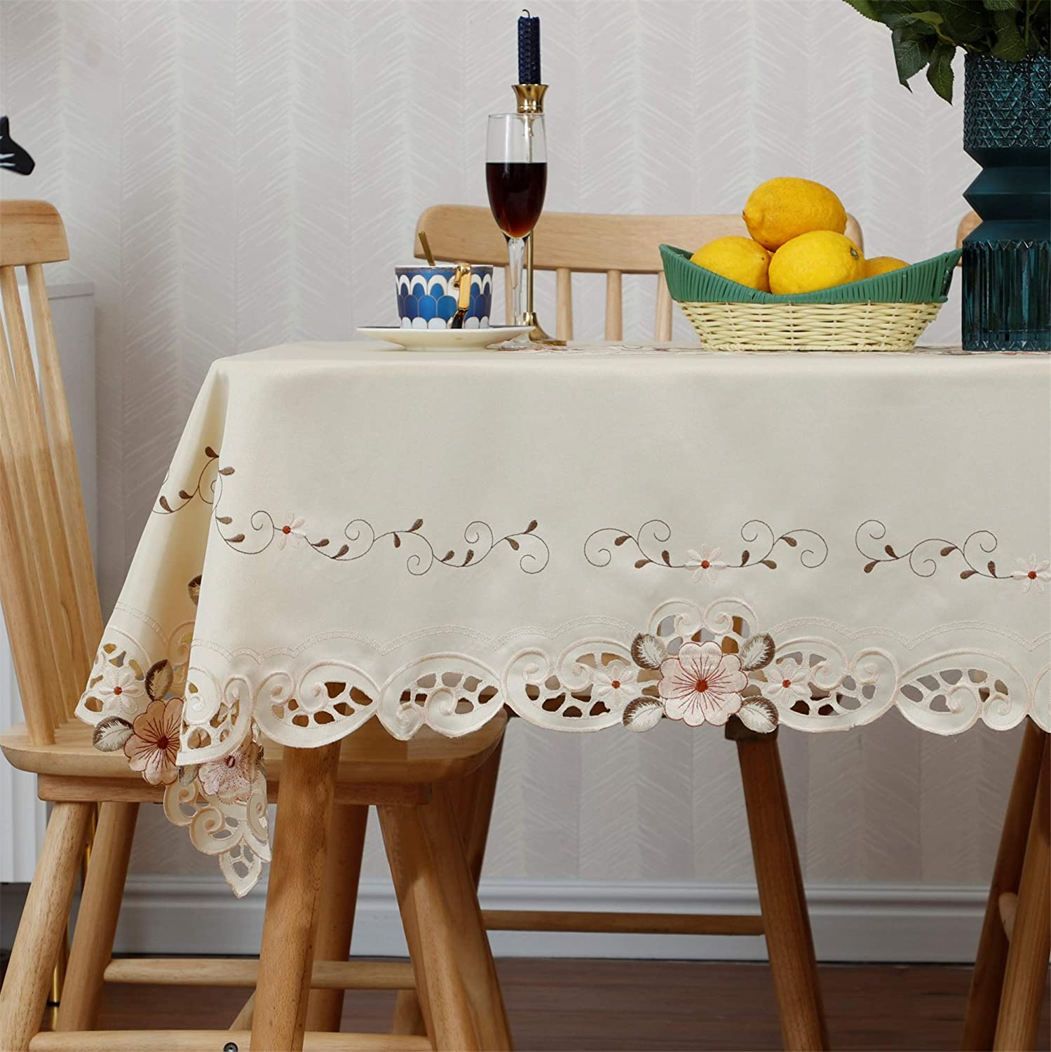 Damask Handmade Cutwork At the price of surprise Embroidery Floral Pink Party Omaha Mall Tablecloth