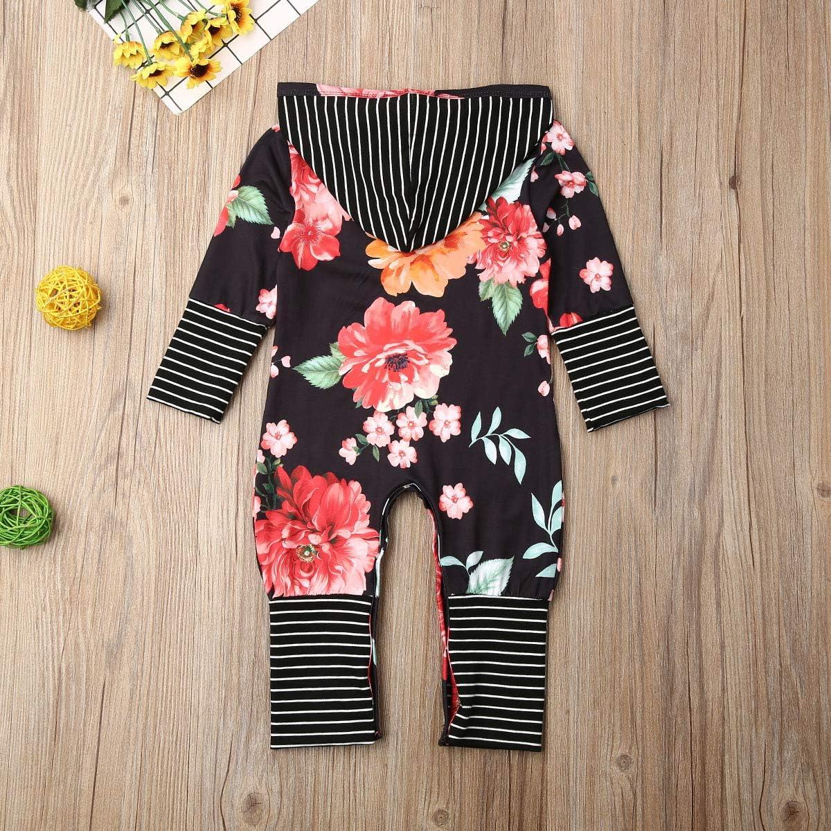 waterluo Toddler Baby Girl Long Sleeve Stripe Hooded Romper Floral Print Onesie One-Piece Hoodies Jumpsuit