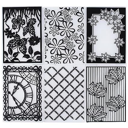 6pcs Carpetas de Relieve Estampado Estampación Plantilla Repujado Flor Plástico Molde Decoración Tartas Pasteles Diy Papel