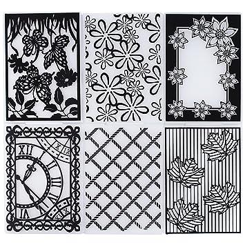 6pcs Carpetas de Relieve Estampado Estampación Plantilla Repujado Flor Plástico Molde Decoración Tartas Pasteles Diy Papel Maualidades (10.5×29.5cm): ...