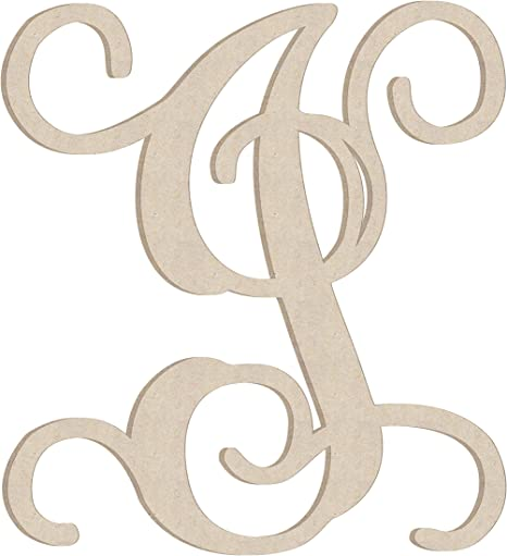 """Wood Letter Unfinished 8/"""" tall Vine Font Letter /""""V/"""" Made In The USA"""