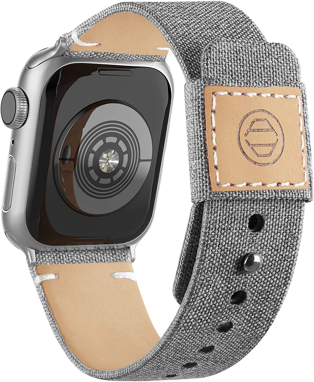 Adepoy Fabric Cloth Bands Compatible with Apple Watch 44mm 42mm 40mm 38mm, Canvas Strap with Soft Genuine Leather Lining and Snap Button for Apple iwatch Series 6/5/4/3/2/1 SE,Gray 38/40mm