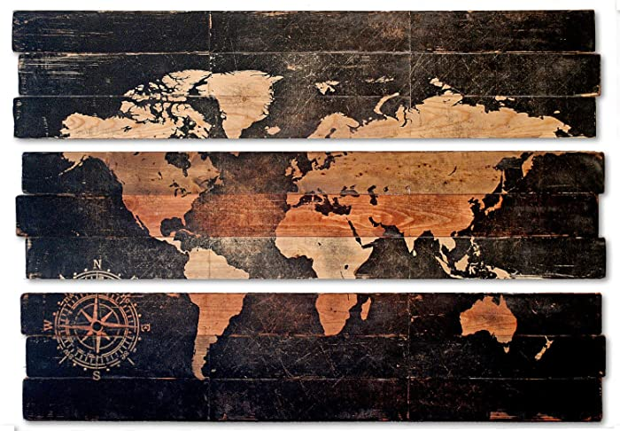 Amazon extra large world map and compass triptych wall art on extra large world map and compass triptych wall art on distressed solid wood 3 piece gumiabroncs Gallery