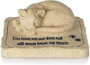 Besti Pet Memorial Stones – Ceramic Cat Memorial – 3D Casting Cat Stone with Engraving – Heartfelt Message for Lost Pet – Ideal for Garden, Backyard Display