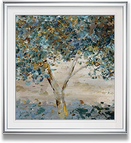 WEXFORD HOME Hint of Twilight Contemporary Artwork Tree Pictures Framed Wall Art Decor Landscape Painting Giclee Canvas Print